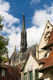 Church spire in Paris, France. Street view with spire. Paris, France, Europe Stock Images