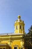 Church spire in the Peter and Paul Fortress in St. Petersburg Royalty Free Stock Image