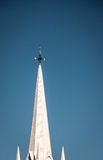 Church spire. White church spire and weather vane in maine Royalty Free Stock Photos