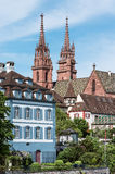 Church spires of Basel Minster Stock Photography