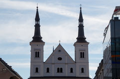 Church with spires. And blue sky in the background Royalty Free Stock Image