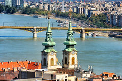 Church Spires in Budapest. Church spires against the River Danube in Budapest, Hungary Stock Photography