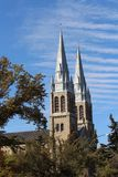 Church Spires Holy Rosary Cathedral Regina Saskatchewan. Stately spires of Holy Rosary Cathedral Regina Stock Image