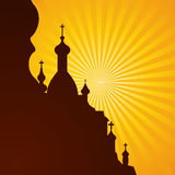 Church. Spires of a church in silhouette on the bright background, vector illustration Stock Images