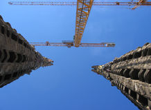 Church Spires under construction in Barcelona. The spires of teh Sagrada Familia in Barcelona, Spain, by the architect Antonio Gaudi Stock Photography