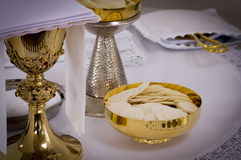Church spiritual. Equipments on table Stock Image