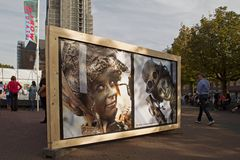 Church Square in Arnhem with posters indicating world championships living statues in Arnhem Royalty Free Stock Images
