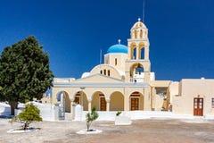 Church square in Oia Santorini Greece stock photos