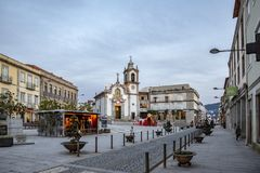 Church square with christmas decoration in Vila Praia de Ancora royalty free stock photography