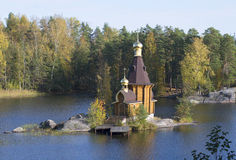 The Church of St. Andrew on the island in the middle of the river Vuoksi. Leningrad region Royalty Free Stock Photo