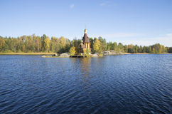 The Church of St. Andrew on the island in the middle of the river Vuoksi. Leningrad region Stock Photos