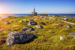 Church of St. Andrew. On the island Zayatsky and boulders in the grass Stock Photo