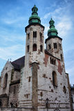 Church of St. Andrew in Krakow. Church of St. Andrew in Old Town of Krakow in Poland. Medieval Romanesque architecture, built between 1079 - 1098, rare surviving Stock Images