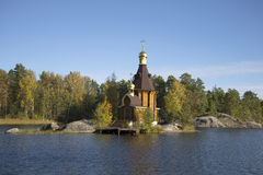 The Church of St. Andrew in the middle of the river Vuoksa autumn day. Priozersky district, Leningrad region Royalty Free Stock Photos