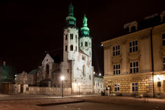 Church of St. Andrew at Night in Krakow Stock Image