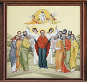 Church of St. Anne - Feast of the Ascension. The internal painting of the church of St. Anne, an illustration of the Feast of the Ascension. The author - Ivan Stock Images