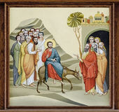 Church of St. Anne - Palm Sunday. The internal painting of the church of St. Anne, an illustration of the Feast of the Palm Sunday. The author - Ivan Protsiv Royalty Free Stock Images