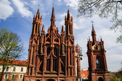 Church of St. Anne's front with campanile, Vilnius, Lithuania Stock Photography