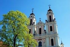 Church of St. Catherine in Vilnius, spring time stock image