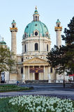 Church of St. Charles Borromeo and Resurrection Chapel. In Vienna, Austria Royalty Free Stock Image