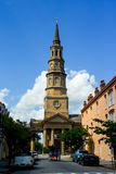 Church St, Charleston, SC. Historic St. Philip's Church sits right in the heart of  Church St. in Charleston, SC Royalty Free Stock Photo