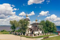 Church of St Constantine and Helena. Church of St Constantine and Helena on rural island Sviyazhsk in Russia. Summer Day with Cloudy Sky Stock Photos