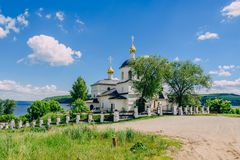 Church of St Constantine and Helena. Church of St Constantine and Helena on rural island Sviyazhsk in Russia. Sunny Day with Cloudy Sky Royalty Free Stock Photography