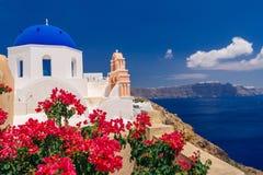 Church of St. Dimitris in Oia on Santorini royalty free stock photos