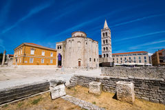 Church of st. Donat, a monumental building from the 9th century with historic roman artefacts in foreground in Zadar Royalty Free Stock Photography