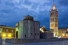 Church of St. Donat at night. Zadar. Croatia Royalty Free Stock Images