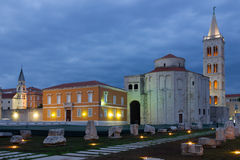 Church of St. Donat at night. Zadar. Croatia Stock Photo