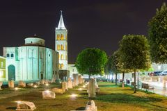 Church of St. Donat at night. Zadar. Croatia Royalty Free Stock Image