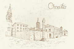 Church of St. Donat on the roman forum, Zadar, Croatia. Retro style. Royalty Free Stock Photo