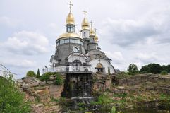 Church of St. Evgen the waterfall.Selo Buki, Ukraine. Project temple complex with landscaped park in a. Buki Skvirsky Kyiv region made creative Stock Image