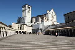 Church of St. Francis Assisi. Assisi, Italy - 08.16.2011: Basilica of St. Francis Square view from the bottom Stock Images