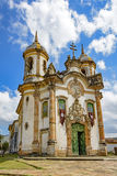 Church of St. Francis of Assisi. Front view of the ancient church of St. Francis of Assisi built in the year 1771 in Baroque style in the city of Ouro Preto in Stock Photo