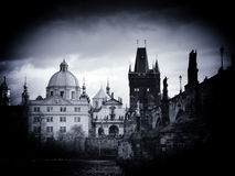 Church of St Francis and Charles Bridge Royalty Free Stock Photo