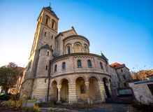 Church of St Gabriel or Kostel sv. Gabriela in Prague, street architecture of Czech republic. Church of St Gabriel or Kostel sv. Gabriela in Prague, street royalty free stock photo