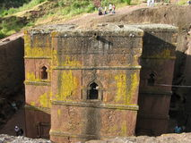 Church of St George, Lalibela, Ethiopia. The rock hewn church of St. George in Lalibela, Ethiopia taken from the side Royalty Free Stock Images