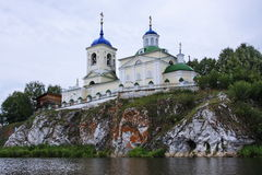 Church of St. George on a rock on the river. Chusovaya in the Perm region Stock Photos