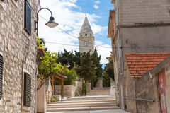 The church of St. George with street detail from Primosten, Croatia.  royalty free stock photos