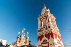 Church of St. George in street  at Varvarka, Russia. Bell tower church of St. George in a  street  Varvarka, Russia Royalty Free Stock Photo
