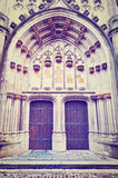 Church St.Hubert. Detail of  Portal of the Gothic Church St.Hubert in Belgium, Instagram Effect Stock Photo