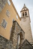 Church of St Ivan bell tower. View of bell tower of the Church of St Ivan, Budva, old town, Montenegro royalty free stock photos
