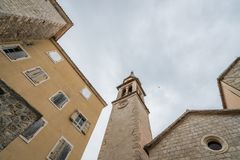 Church of St Ivan bell tower. View of bell tower of the Church of St Ivan, Budva, old town, Montenegro stock photography
