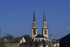 Church of St. Jacob. Gothic German church in the midst of the city Oelsnitz Royalty Free Stock Photography
