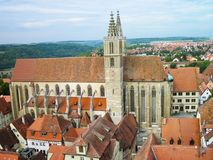 The Church of St. Jacob. Rothenburg ob der Tauber. View of the Church of St. Jacob from the Town Hall Tower Stock Images