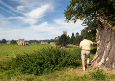 Church St James across meadow in Chipping Campden Royalty Free Stock Images