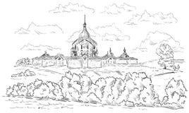 Church of St Jan Nepomucky. On top Zelena Hora near Zdar nad Sazavou, Czech Republic ,Europe vector illustration