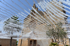 Streamers on the Church of St. Jaume in Alcudia Old Town Stock Photography